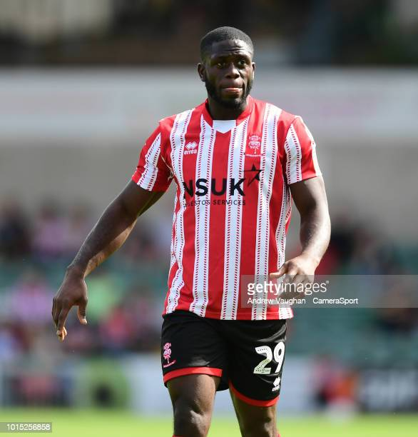 Lincoln City's John Akinde during the Sky Bet League Two match between Lincoln City and Swindon Town at Sincil Bank Stadium on August 11 2018 in...