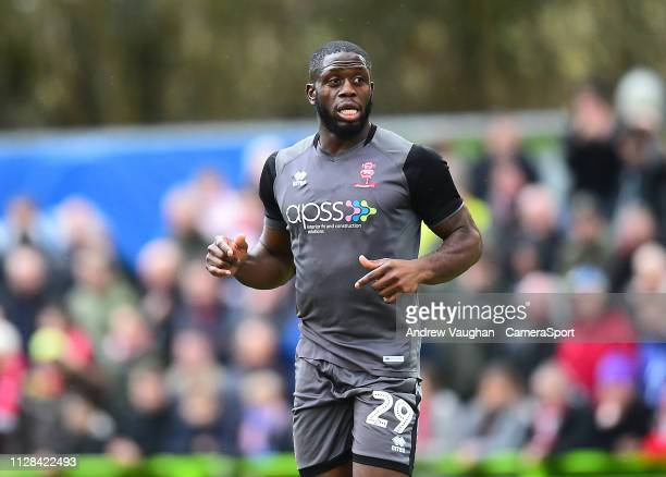 Lincoln City's John Akinde during the Sky Bet League Two match between Forest Green Rovers and Lincoln City at The New Lawn on March 2 2019 in...