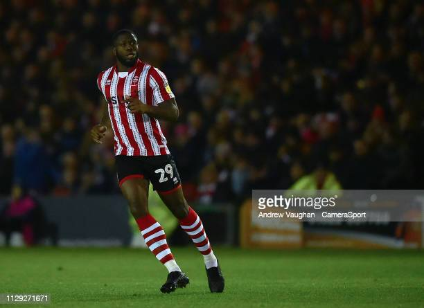 Lincoln City's John Akinde during the Sky Bet League Two match between Lincoln City and Yevoil Town at Sincil Bank Stadium on March 8 2019 in Lincoln...