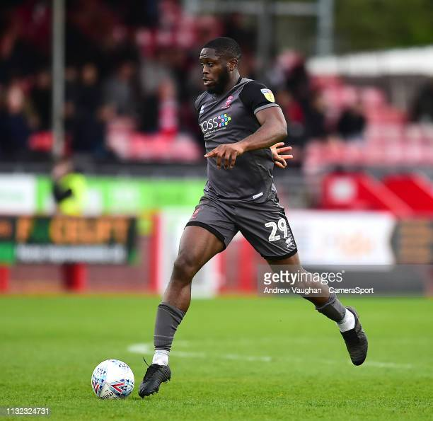 Lincoln City's John Akinde during the Sky Bet League Two match between Crawley Town and Lincoln City at Checkatradecom Stadium on March 23 2019 in...