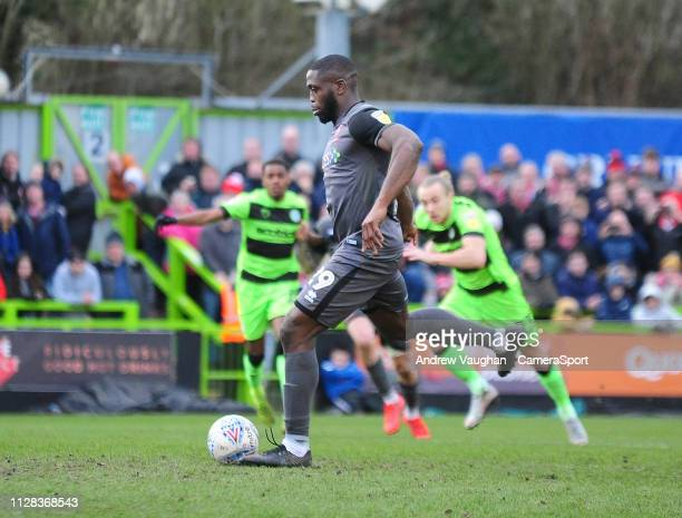 Lincoln City's John Akinde scores his side's second goal from the penalty spot during the Sky Bet League Two match between Forest Green Rovers and...