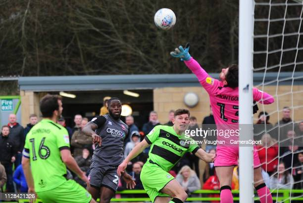 Lincoln City's John Akinde scores the opening goal during the Sky Bet League Two match between Forest Green Rovers and Lincoln City at The New Lawn...