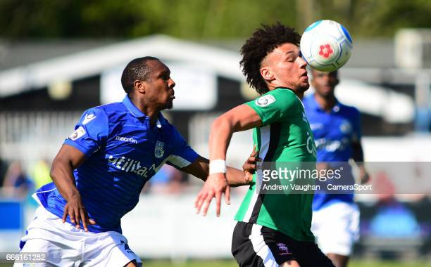 Lincoln City's Lee Angol shields the ball from Eastleigh's Gavin Hoyte during the Vanarama National League match between Eastleigh and Lincoln City...