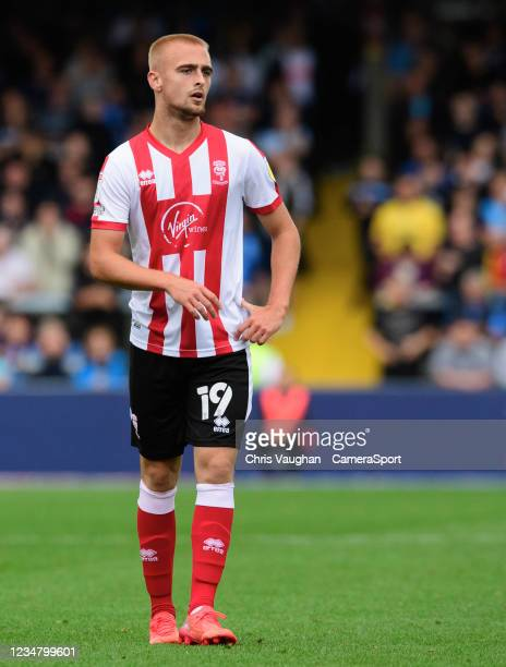 Lincoln City's Lewis Fiorini during the Sky Bet League One match between Wycombe Wanderers and Lincoln City at Adams Park on August 21, 2021 in High...