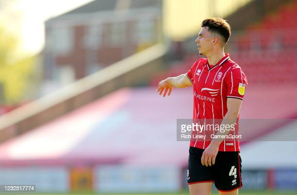 Lincoln City's Lewis Montsma during the Sky Bet League One match between Lincoln City and Hull City at Sincil Bank Stadium on April 24, 2021 in...