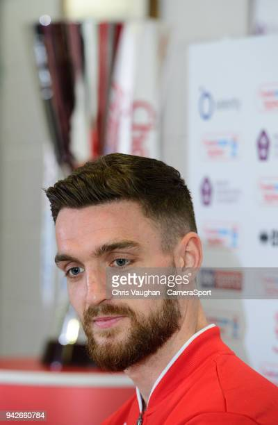 Lincoln City's Luke Waterfall speaks to the media ahead of the EFL Checkatrade Trophy Final on April 6 2018 in Lincoln England