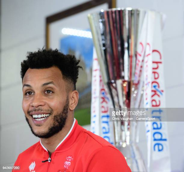 Lincoln City's Matt Green speaks to the media ahead of the EFL Checkatrade Trophy Final on April 6 2018 in Lincoln England