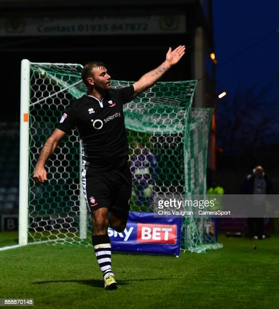 Lincoln City's Matt Rhead celebrates scoring his sides second goal during the Sky Bet League Two match between Yeovil Town and Lincoln City at Huish...