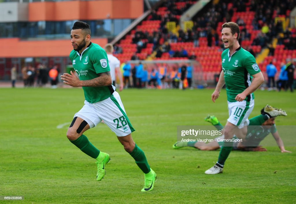 Lincoln City's Nathan Arnold celebrates scoring his sides second goal during the Vanarama National League match between Gateshead and Lincoln City at on April 17, 2017 in Gateshead, England.