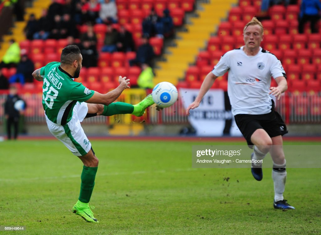 Lincoln City's Nathan Arnold scores his sides second goal during the Vanarama National League match between Gateshead and Lincoln City at on April 17, 2017 in Gateshead, England.