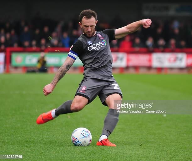 Lincoln City's Neal Eardley during the Sky Bet League Two match between Crawley Town and Lincoln City at Checkatradecom Stadium on March 23 2019 in...