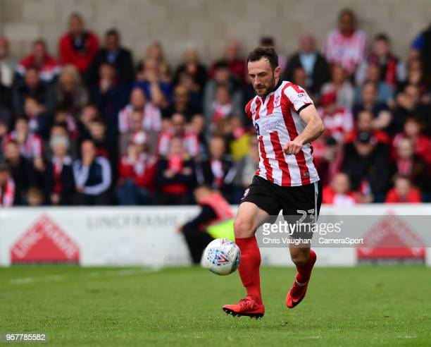 Lincoln City's Neal Eardley during the Sky Bet League Two Play Off Semi FinalFirst Leg between Lincoln City and Exeter City at Sincil Bank Stadium on...