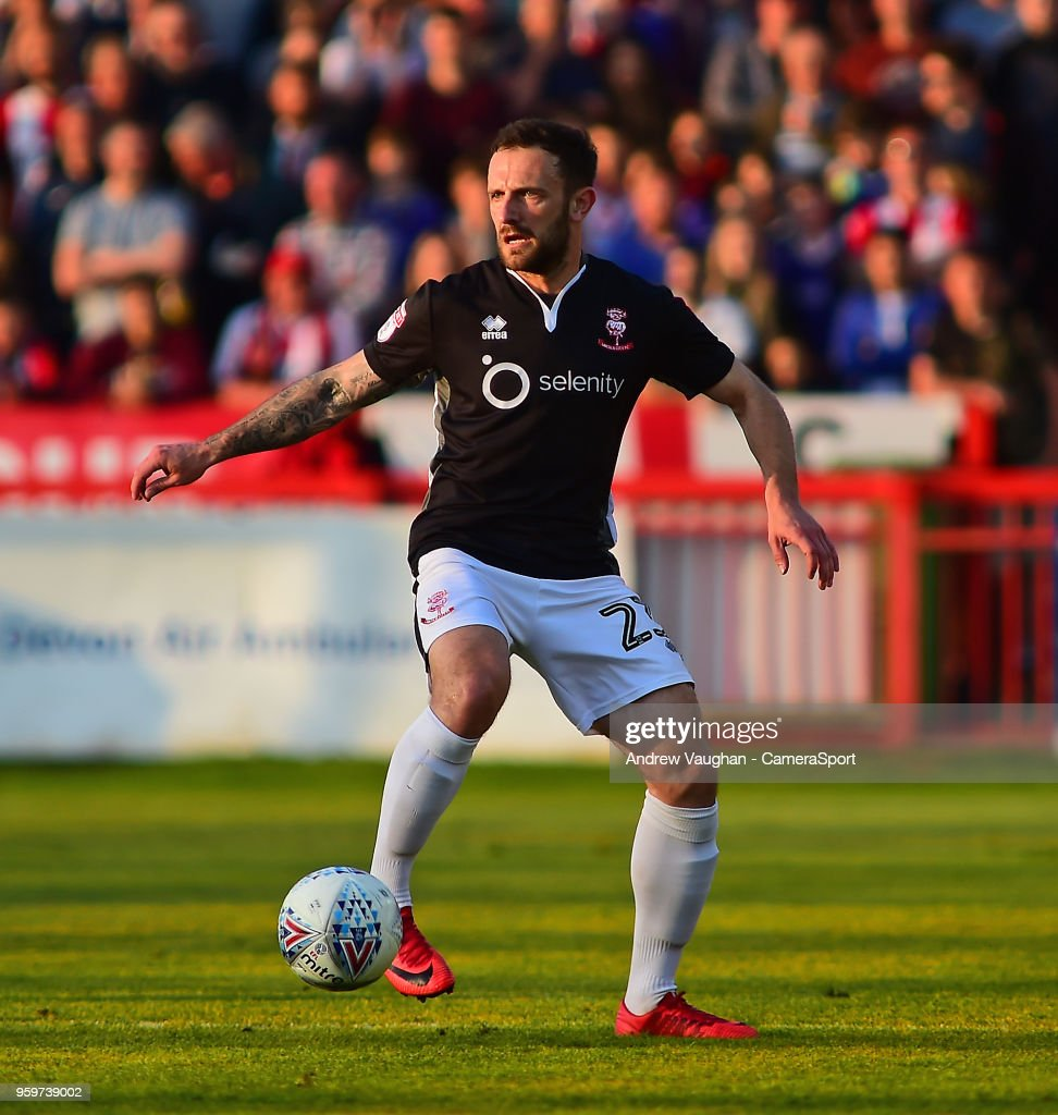 Lincoln City's Neal Eardley during the Sky Bet League Two Play Off Semi Final:Second Leg between Exeter City and Lincoln City at St James Park on May 17, 2018 in Exeter, England.