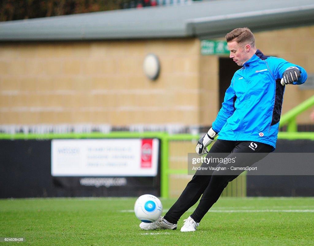 Lincoln City's Paul Farman during the pre-match warm-up before the Vanarama National League match between Forest Green Rovers and Lincoln City at on November 19, 2016 in Nailsworth, England.