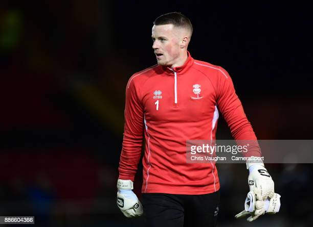 Lincoln City's Paul Farman during the prematch warmup prior to the EFL Checkatrade Trophy Second Round match between Lincoln City and Accrington...