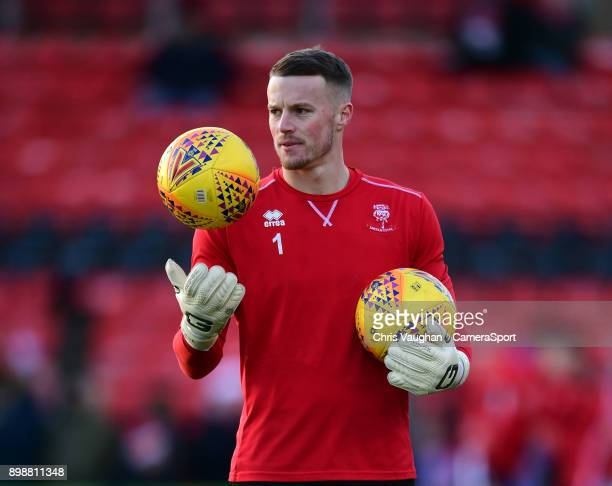 Lincoln City's Paul Farman during the prematch warmup prior to the Sky Bet League Two match between Lincoln City and Stevenage at Sincil Bank Stadium...
