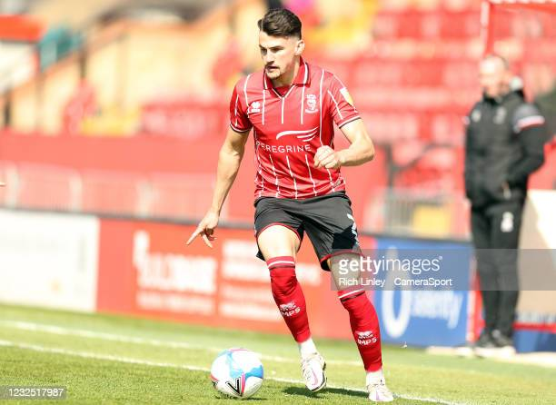 Lincoln City's Regan Poole during the Sky Bet League One match between Lincoln City and Hull City at Sincil Bank Stadium on April 24, 2021 in...