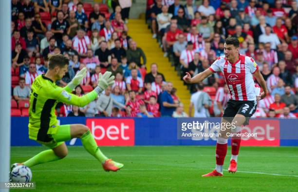 Lincoln City's Regan Poole sees his effort disallowed for offside during the Sky Bet League One match between Lincoln City and Ipswich Town at LNER...