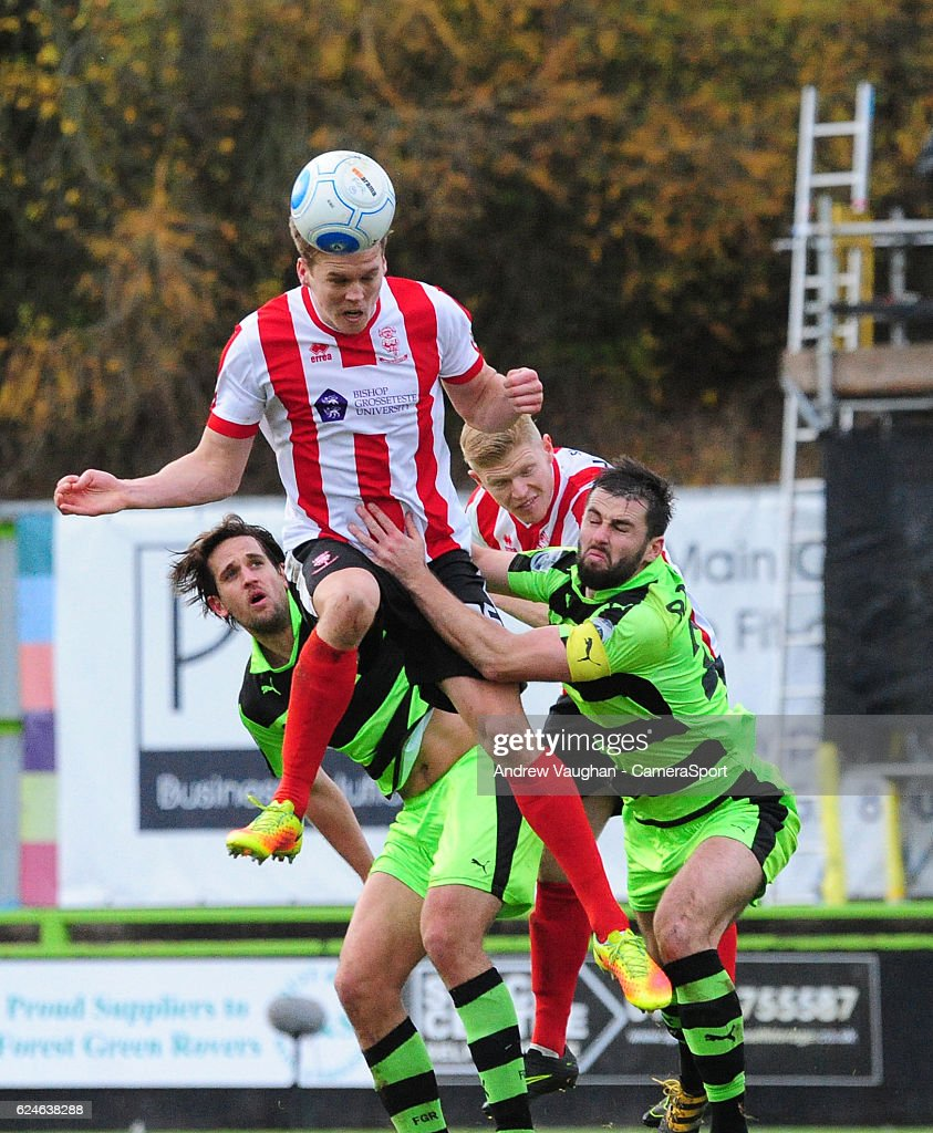 Lincoln City's Sean Raggett scores his sides third goal during the Vanarama National League match between Forest Green Rovers and Lincoln City at on November 19, 2016 in Nailsworth, England.