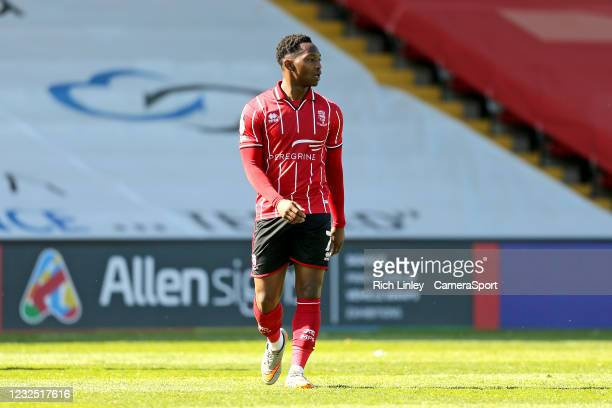 Lincoln City's Tayo Edun during the Sky Bet League One match between Lincoln City and Hull City at Sincil Bank Stadium on April 24, 2021 in Lincoln,...