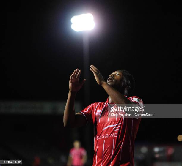 Lincoln City's Tayo Edun shows his frustration during the Carabao Cup Third Round match between Lincoln City and Liverpool at LNER Stadium on...