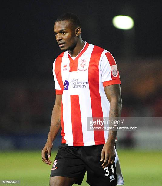 Lincoln Citys Theo Robinson during the Vanarama National League match between Lincoln City and Wrexham at Sincil Bank Stadium on November 29 2016 in...