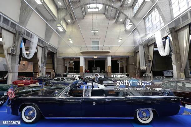 Lincoln Continental Limousine Cabriolet on display during a preview for the upcoming Coys Spring Classics auction at the Royal Horticultural...