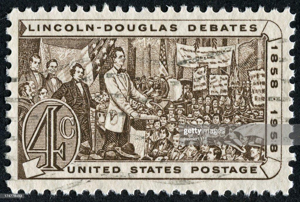 Lincoln - Douglas Debates Stamp : Stock Photo