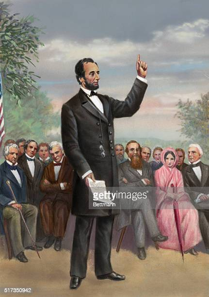 Lincoln gives the Gettysburg Address 11/19/1863 Undated color illustration