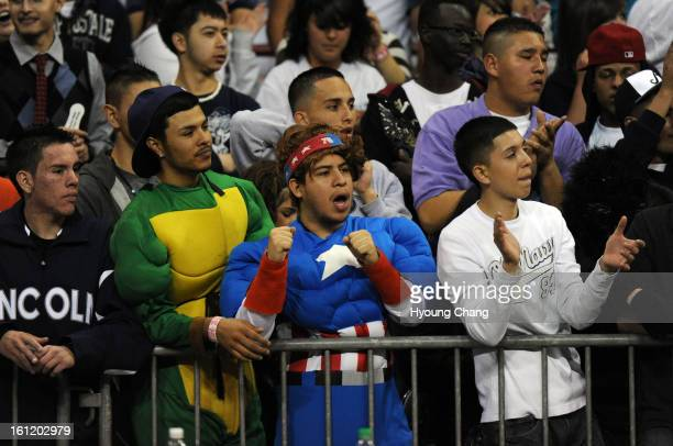 Lincoln high school students cheer the team during 5A boys quarter finals game against Arapahoe at Denver Coliseum on Friday Arapahoe won 6645 March...