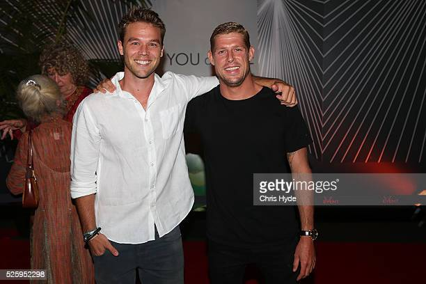 Lincoln Lewis and Mick Fanning arrive ahead of Gold Coast premiere of 'YOU and ME' at Event Cinemas Pacific Fair on April 29 2016 in Gold Coast...