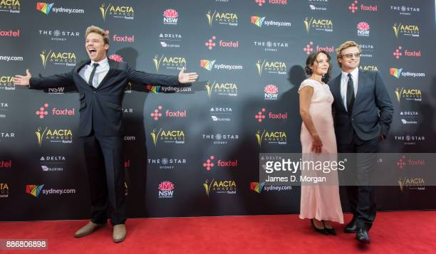 Lincoln Lewis and Simon Baker with his wife Rebecca Rigg during the 7th AACTA Awards at The Star on December 6 2017 in Sydney Australia