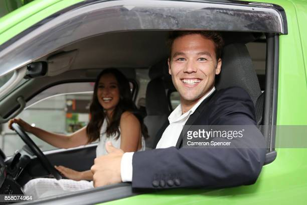 Lincoln Lewis and Teigan Nash pose in a Juicy campervan at the launch of Aussie News Today as part of Tourism Australia's new youth campaign on...