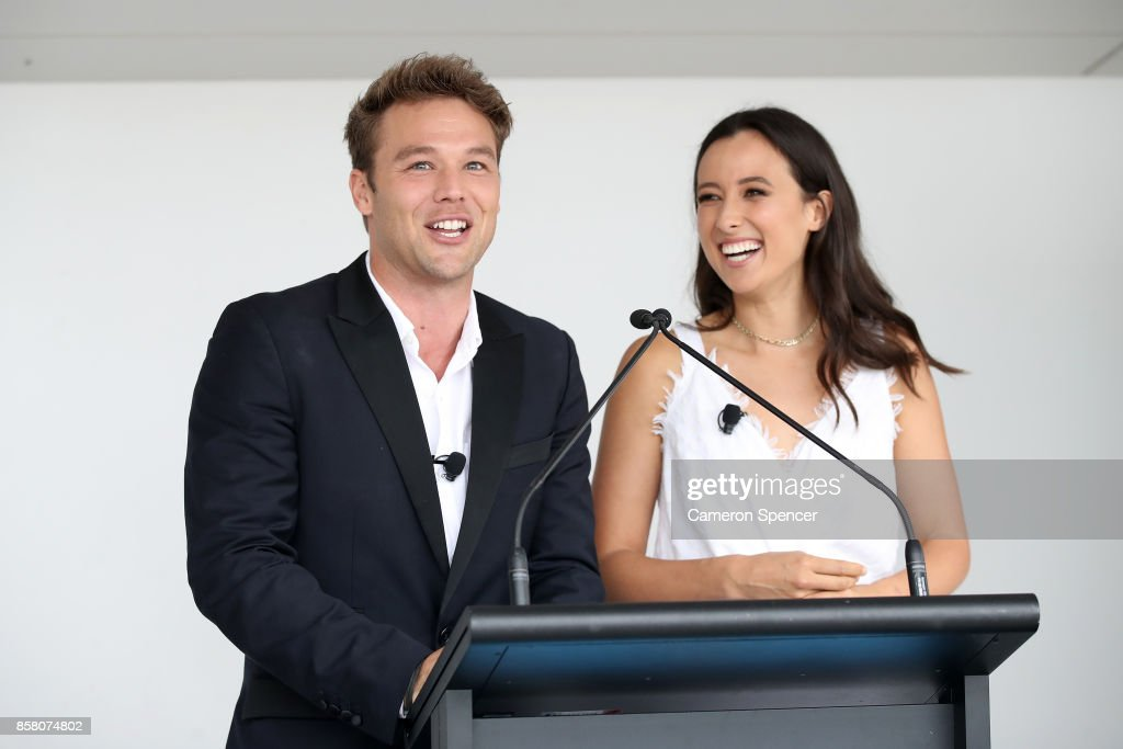 Lincoln Lewis and Teigan Nash speak at the launch of Aussie News Today, as part of Tourism Australia's new youth campaign on October 6, 2017 in Sydney, Australia.