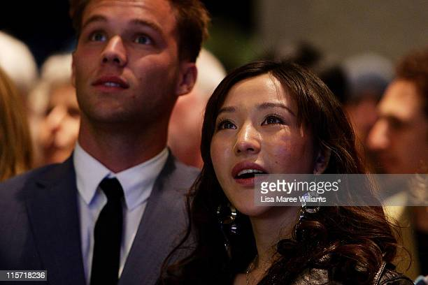 Lincoln Lewis and Zhu Lin arrive at the Sydney screening of '33 Postcards' at Dendy Opera Quays Cinema on June 9 2011 in Sydney Australia