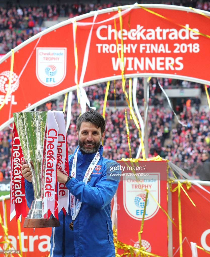 Lincoln manager Danny Cowley poses with the trophy during the Checkatrade Trophy Final between Lincoln City and Shrewsbury Town at Wembley Stadium on April 8, 2018 in London, England.