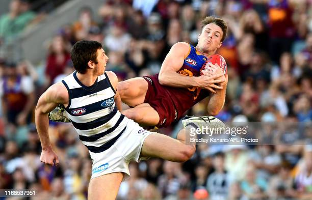 Lincoln McCarthy of the Lions takes a mark during the round 22 AFL match between the Brisbane Lions and the Geelong Cats at The Gabba on August 17,...