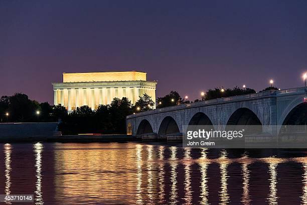 Lincoln Memorial and the Arlington Memorial Bridge at night