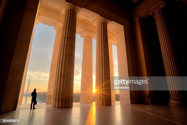 lincoln memorial at sunrise - washington dc stock pictures, royalty-free photos & images