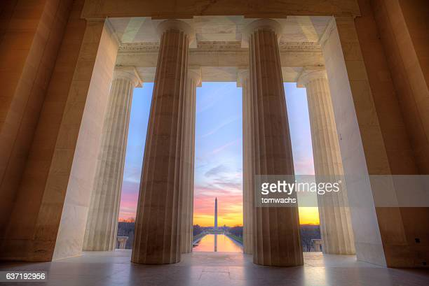 lincoln memorial at sunrise - lincoln memorial stock pictures, royalty-free photos & images