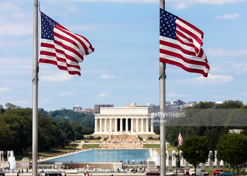 Lincoln memorial from the Washington monument : Stock Photo