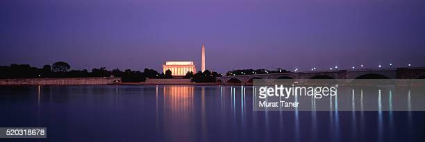 Lincoln Memorial, Washington Monument and Memorial Bridge at night, Washington DC, USA