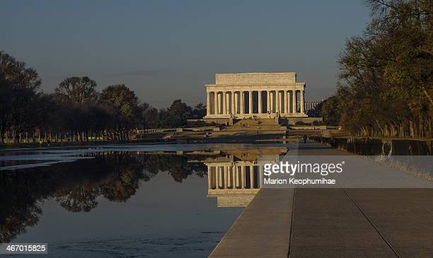 CONTENT] Lincoln Memorial with a reflection on an icy cold day Some ice is still seen on the pool