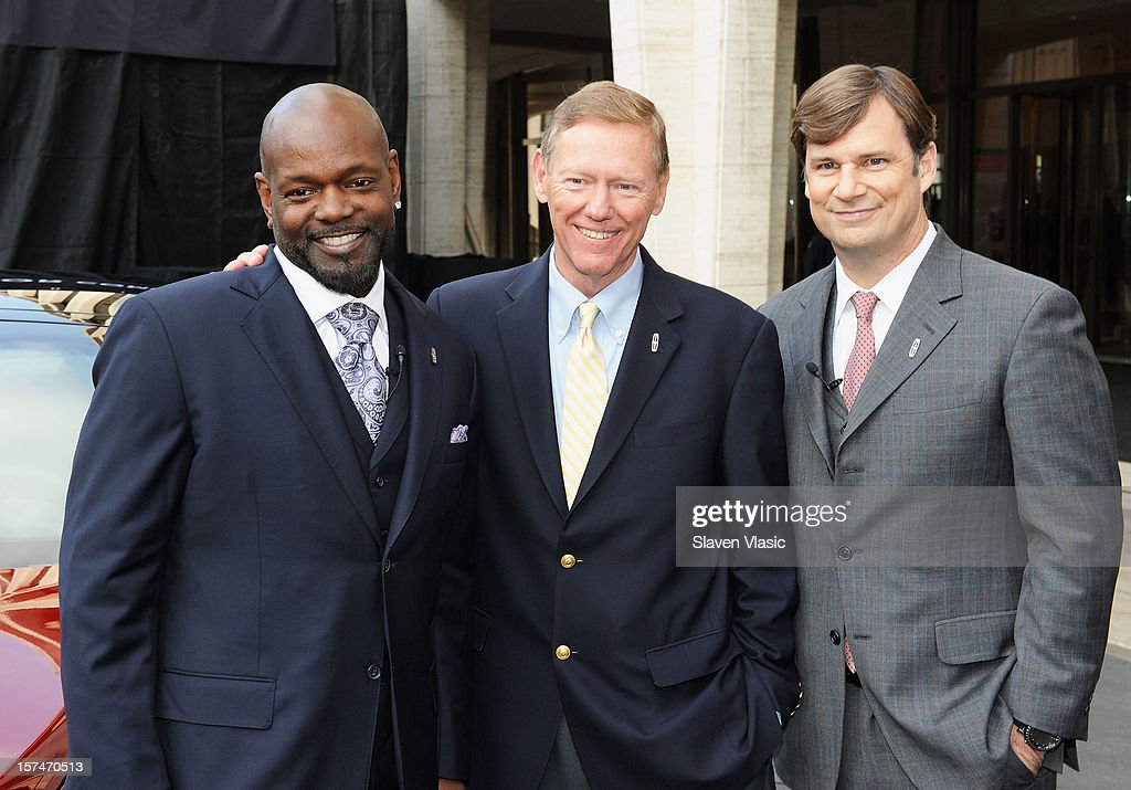 Lincoln Motor Company Ambassador Emmitt Smith, President and CEO of Ford Motor Company Alan Mulally and Global Head of Lincoln Motor Company Jim Farley attend Ford Lincoln unveiling the new brand direction Lincoln with Emmitt Smith at Lincoln Center on December 3, 2012 in New York City.