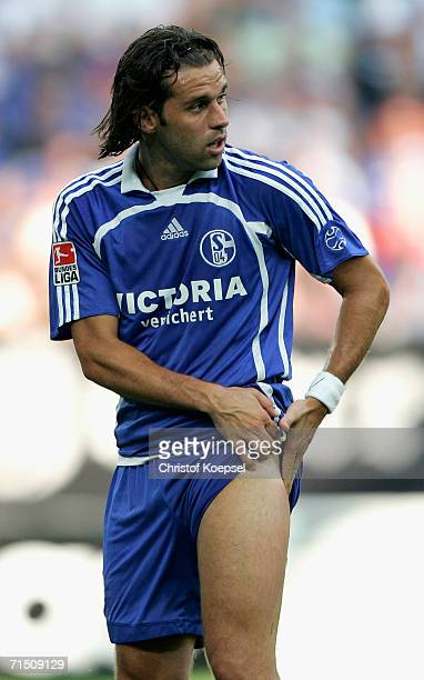 Lincoln of Schalke puts his hand on his thigh during the Ebbe Sand farewell match between Ebbe Sand Team and FC Schalke 04 at the Veltins Arena on...
