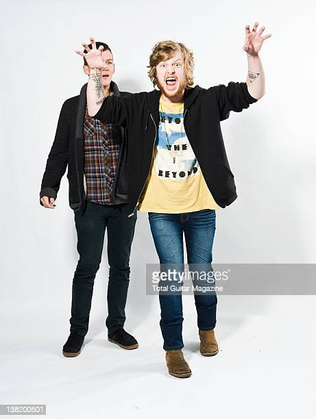 Lincoln Parish and Brad Shultz of American rock band Cage the Elephant During a portrait shoot for Total Guitar Magazine February 3 2011