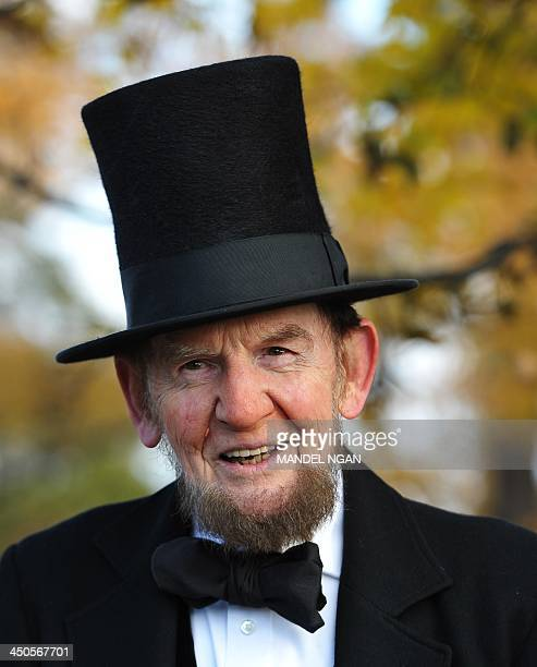 Lincoln portrayer James Getty is seen before the start of the commemoration ceremony on the 150th anniversary of US President Abraham Lincolns...