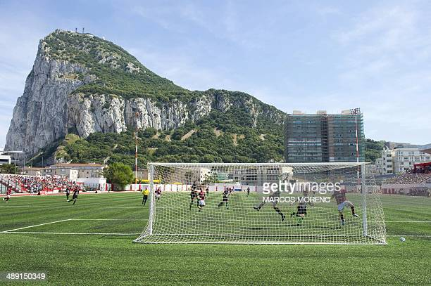 Lincoln Red Imps FC and College Europa FC's players take part in the Gibraltar Cup final football match Lincoln Red Imps FC vs College Europa FC at...