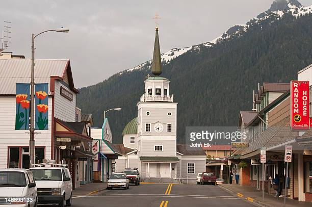 lincoln street with st michael's russian orthodox cathedral. - orthodox church stock pictures, royalty-free photos & images