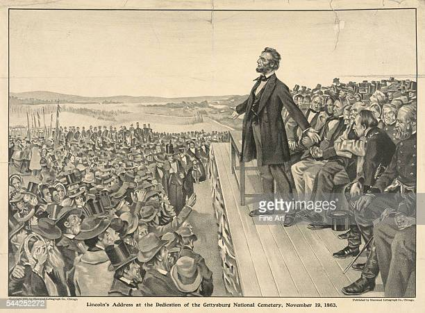Lincoln's Address at the Dedication of the Gettysburg National Cemetery November 19 lithograph published in Chicago by the Sherwood Lithograph Co 412...